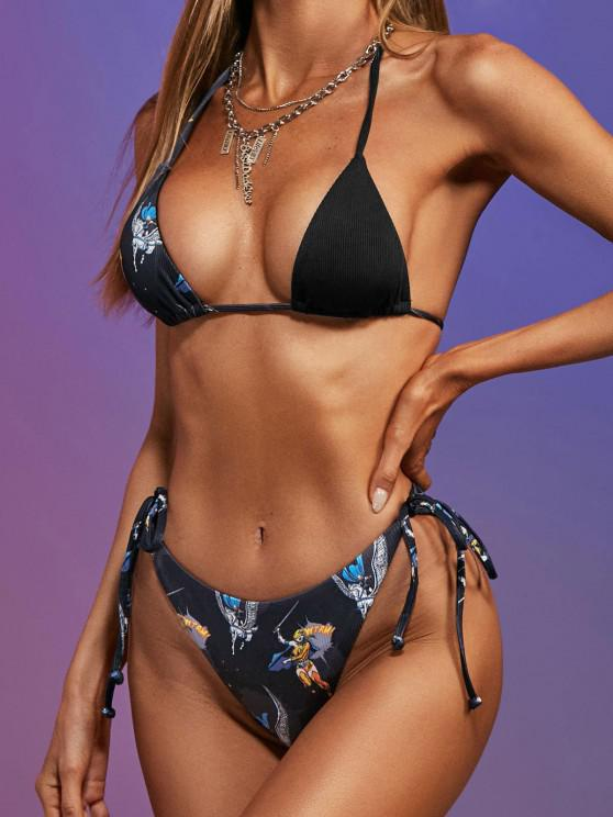 shops Marvel Valkyrie Graphic Print Ribbed String Bikini Set - BLACK S