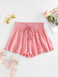 ZAFUL Frilled Tied Detail Wide Leg Shorts - Light Pink S