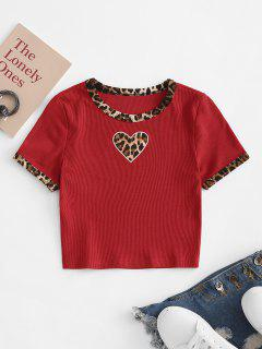 Valentinstag Leopard Piping Herz Gesticktes T-Shirt - Rot L