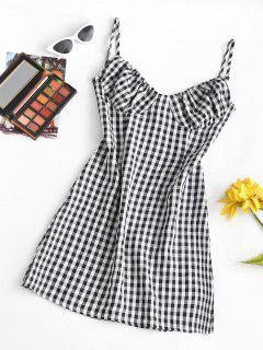 Cami Gingham Bustier Mini Dress - Black S