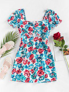 ZAFUL Cut Out Floral Printed Mini Dress - Light Blue M
