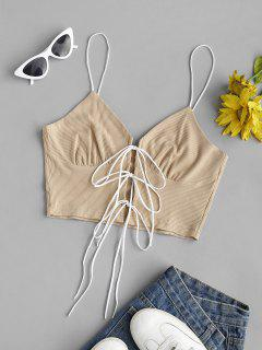 Ribbed Lace Up Front Bustier Crop Top - Light Coffee S