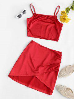 Silky Cropped Ruched Overlap Skirt Set - Red S