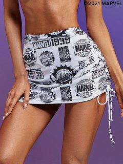 Marvel 1939 Graphic Cinched Beach Skirt - Black L