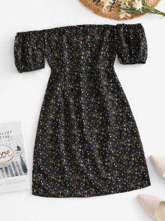 Ties Open Back Off Shoulder Ditsy Floral Dress - Black S