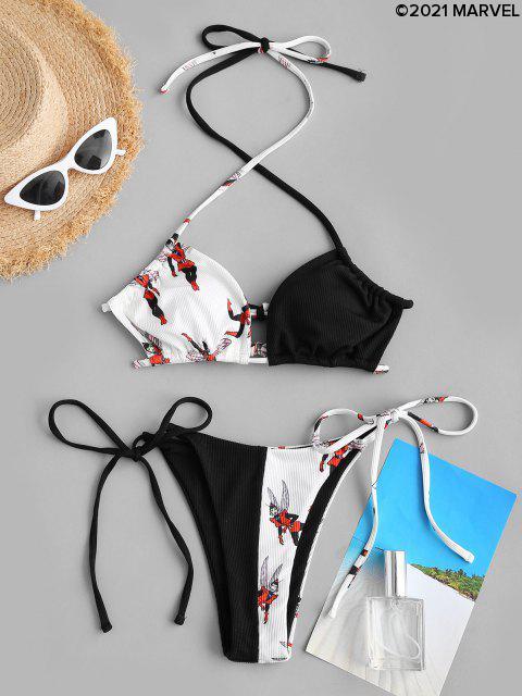 Marvel Wespendruck Ribbed String Bikini Set - Schwarz S Mobile