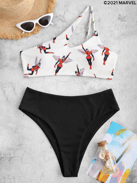 Bikini en Ensemble Ensemble avec Une Epaule Lampe Poitrine Poitrine Poitrine Poitrine Poitrine Poitrine pour Côté - Noir XL Mobile