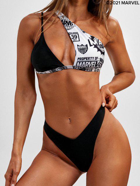 Maillot de Bain Bikini Réversible Cadeau à Une Epaule - Noir L Mobile