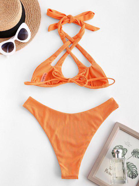 Costume da Bagno Bikini Incrociato a Costine con Taglio Alto di ZAFUL - Arancione Scuro M Mobile