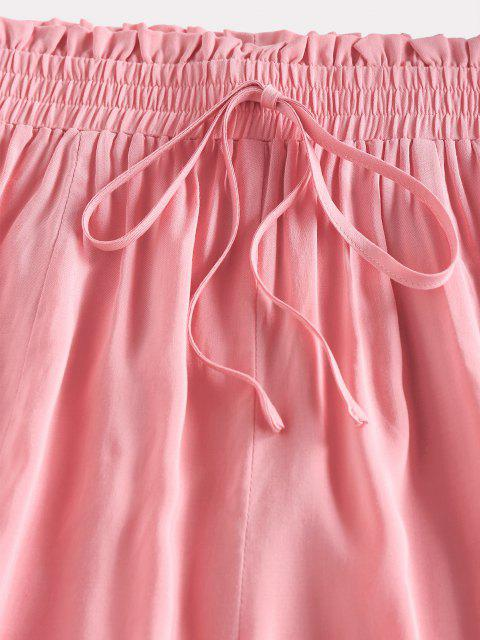 outfit ZAFUL Frilled Tied Detail Wide Leg Shorts - LIGHT PINK S Mobile