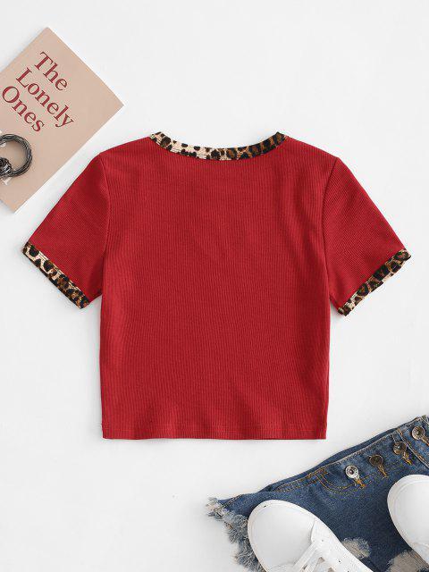T-Shirt con Ricamo Leopardato di Cuore di San Valentino - Rosso M Mobile