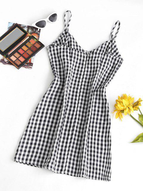 fashion Cami Gingham Bustier Mini Dress - BLACK S Mobile
