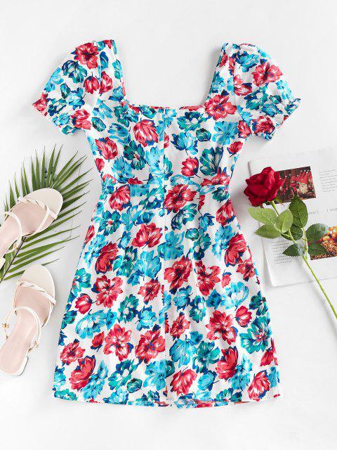 shops ZAFUL Cut Out Floral Printed Mini Dress - LIGHT BLUE S Mobile