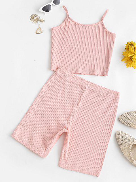 Lounge Einfarbige Gerippte Biker Shorts Set - Hell-Pink M Mobile