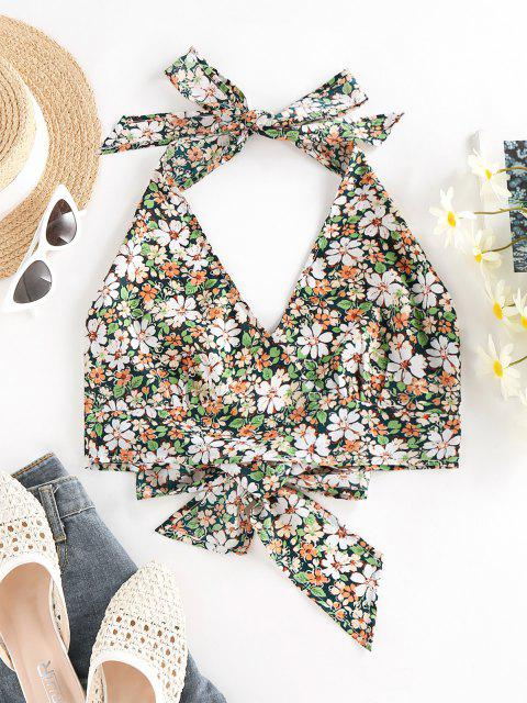 ZAFUL Flower Print Halter Bowknot Crop Tank Top - أخضر S Mobile