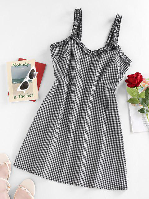 fashion ZAFUL Frill Plaid Printed Mini Dress - BLACK S Mobile