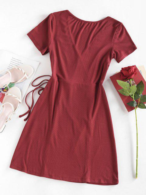 ZAFUL Ribbed Plunge Tied Wrap Dress - أحمر عميق S Mobile