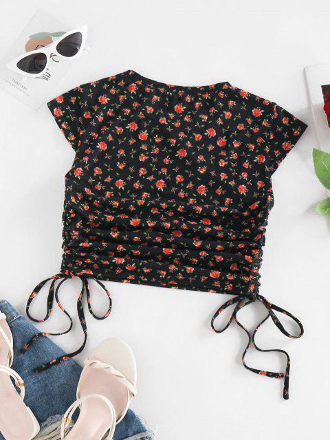sale ZAFUL Tiny Floral Printed Cinch Tie Crop Tee - BLACK M Mobile