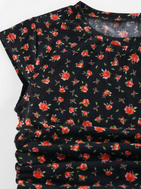 ZAFUL T-shirt Court Noué Fleuri Imprimé - Noir L Mobile