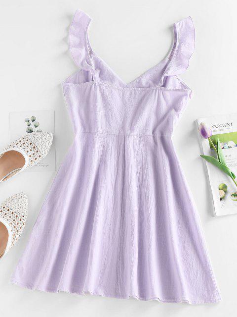 latest ZAFUL Ruffle Open Back Mini Dress - LIGHT PURPLE M Mobile