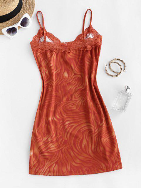 unique Tie Dye Lace Trim Front Slit Mini Dress - RED S Mobile