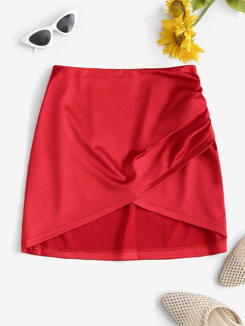 chic Ruched Overlap Silky Mini Skirt - RED L Mobile