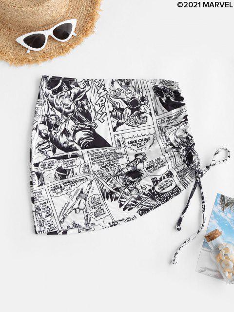 affordable Marvel Spider-Man Comics Print Cinched Swim Skirt - BLACK S Mobile