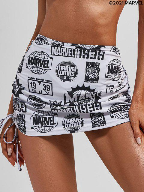 ladies Marvel 1939 Graphic Cinched Beach Skirt - BLACK L Mobile
