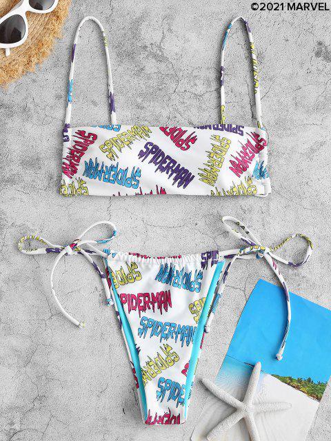 Bikini con Coulisse Imbottito con Stampa di Lettere - Multi Colori L Mobile