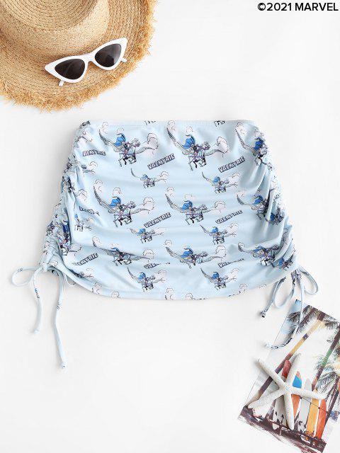 womens Marvel Valkyrie Print Cinched Mini Beach Skirt - LIGHT BLUE L Mobile