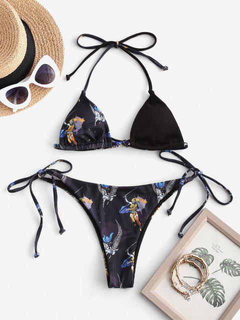 Bikini con Stringhe Intrecciate a Coste con Stampa Grafica - Nero S Mobile