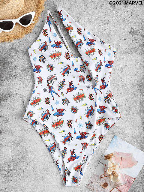 fashion Marvel Spider-Man Web Print One Shoulder Cutout One-piece Swimsuit - WHITE S Mobile