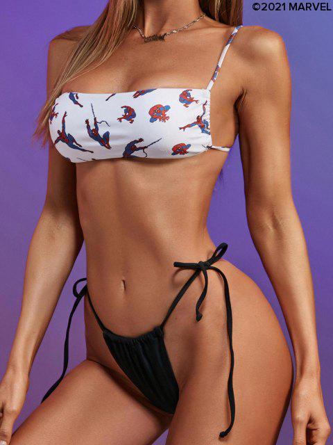 Costume da Bagno Bikini Annodato con Stampa Ragno - Bianca L Mobile