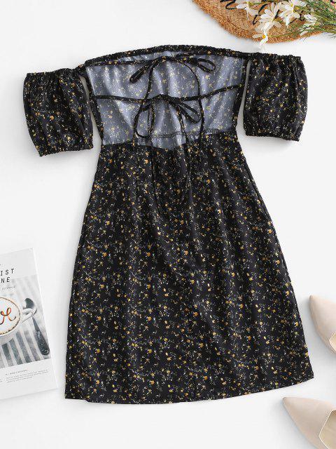 ladies Ties Open Back Off Shoulder Ditsy Floral Dress - BLACK M Mobile