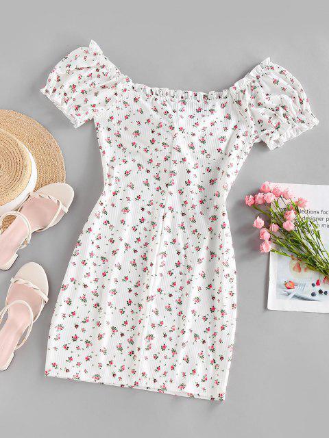 ZAFUL Ribbed Floral Tied Off Shoulder Dress - أبيض S Mobile