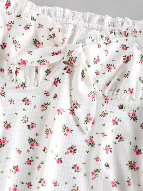 sale ZAFUL Ribbed Floral Tied Off Shoulder Dress - WHITE S Mobile