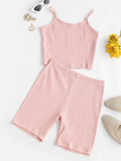 Lounge Solid Ribbed Biker Shorts Set - Light Pink S