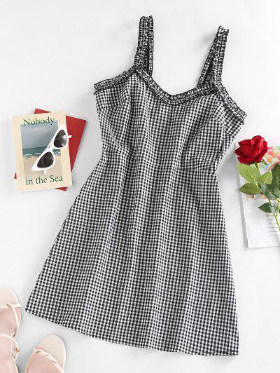 ZAFUL Frill Plaid Printed Mini Dress - Black M