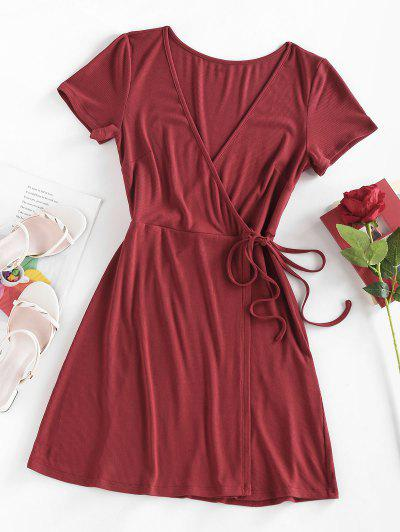 ZAFUL Ribbed Plunge Tied Wrap Dress - Deep Red S