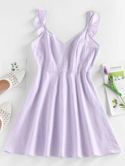 ZAFUL Ruffle Open Back Mini Dress - Light Purple L