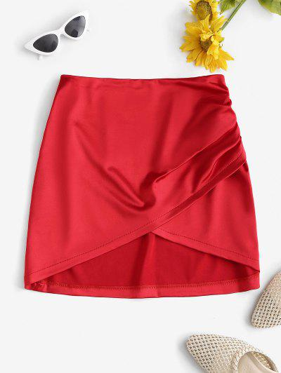 Ruched Overlap Silky Mini Skirt - Red L