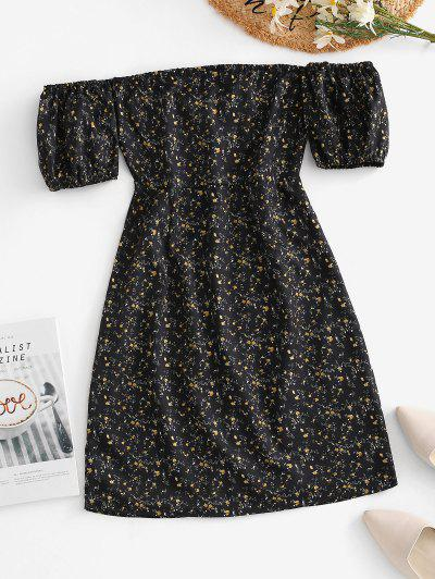 Ties Open Back Off Shoulder Ditsy Floral Dress - Black S