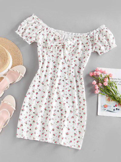ZAFUL Ribbed Floral Tied Off Shoulder Dress - White S