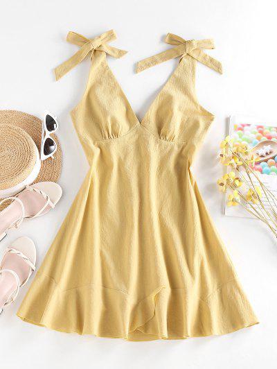 ZAFUL Tie Shoulder Ruffle Backless Dress - Light Yellow M