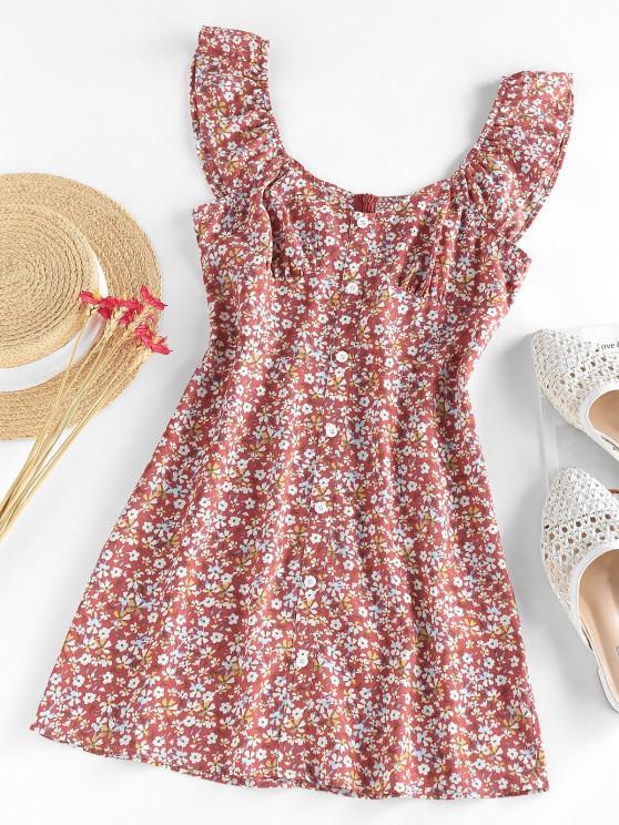 sale ZAFUL Flower Mock Button Ruffle Mini Dress - MULTI M