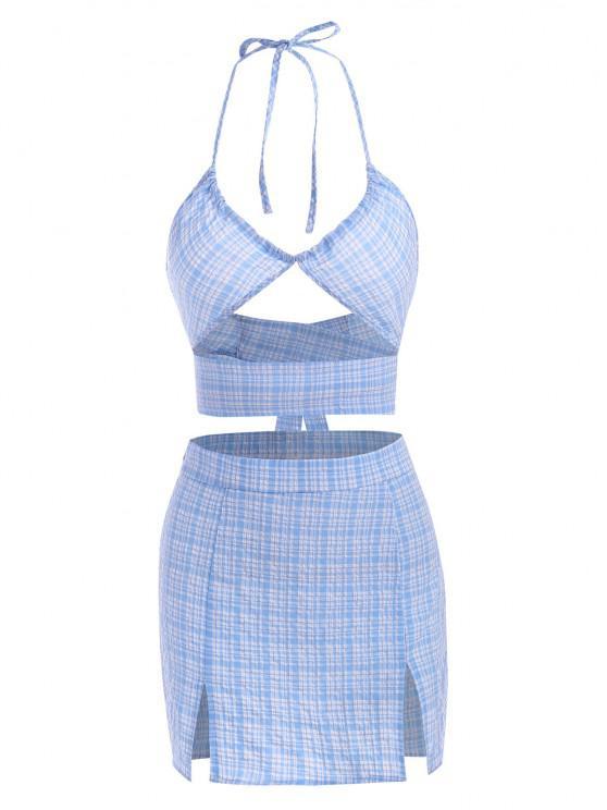 sale Seersucker Plaid Slit Halter Mini Skirt Set - LIGHT BLUE L