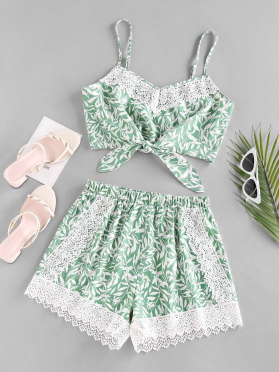 outfits ZAFUL Leaf Print Crochet Insert Tied Shorts Set - GREEN M