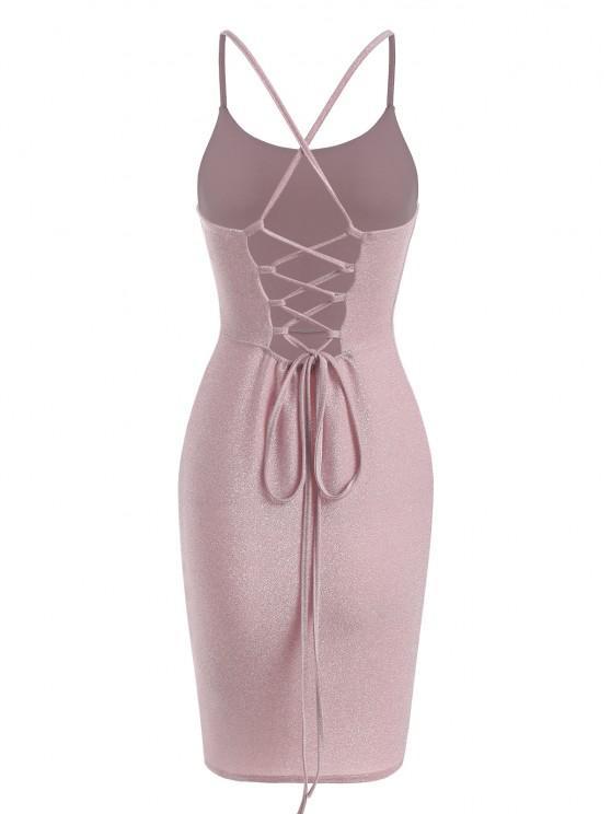 Vestido de Festa com Enlaçado nas Costas - Luz rosa M