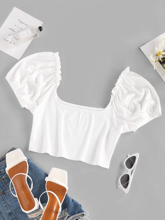 best ZAFUL Ribbed Puff Sleeve Ruffle Crop T Shirt - WHITE M