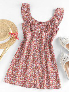 ZAFUL Flower Mock Button Ruffle Mini Dress - Multi S